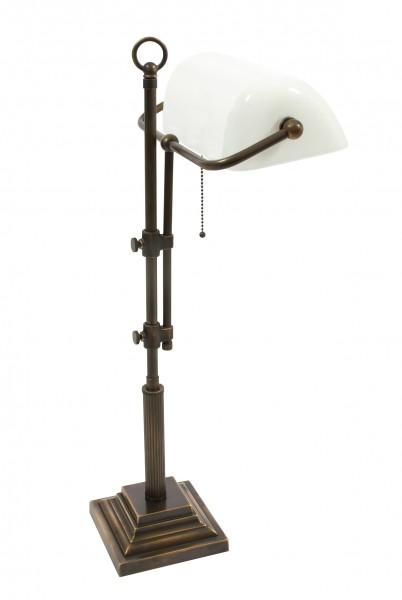 Bankers Lamp / Bankerlampe / Schreibtischleuchte, Landhaus Stil, Messing antik-handpatiniert (Altmessing), hochwertige Ausführung mit weißem mundgeblasenem Glas, Höhe 61 cm bis 72 cm einstellbar, 230 V, E27 60 W
